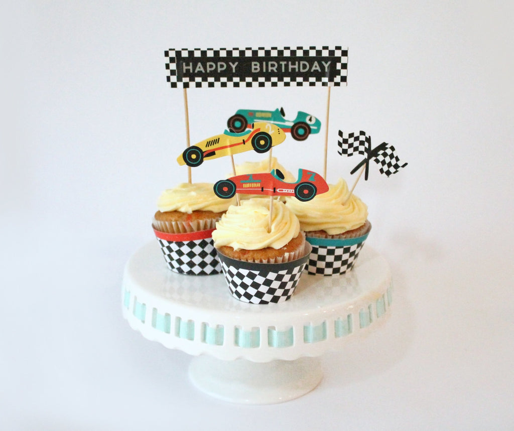 race car cupcake toppers and checkered cupcake wrappers
