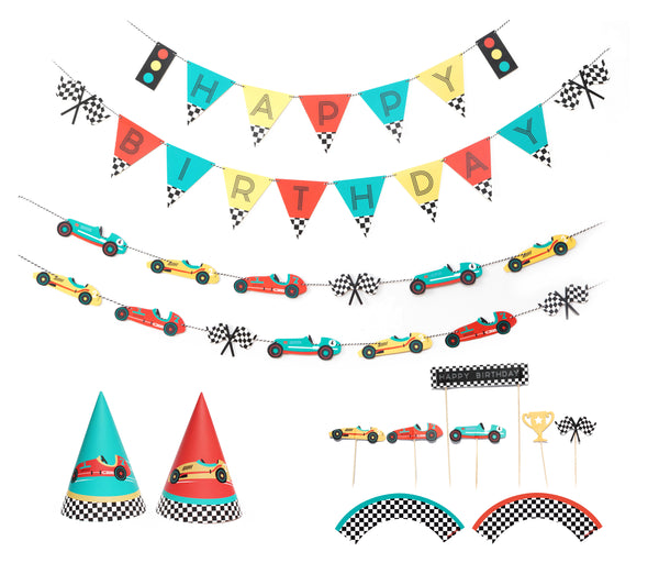 Vintage Race Car - Birthday Party Decoration Kit - 12 guests