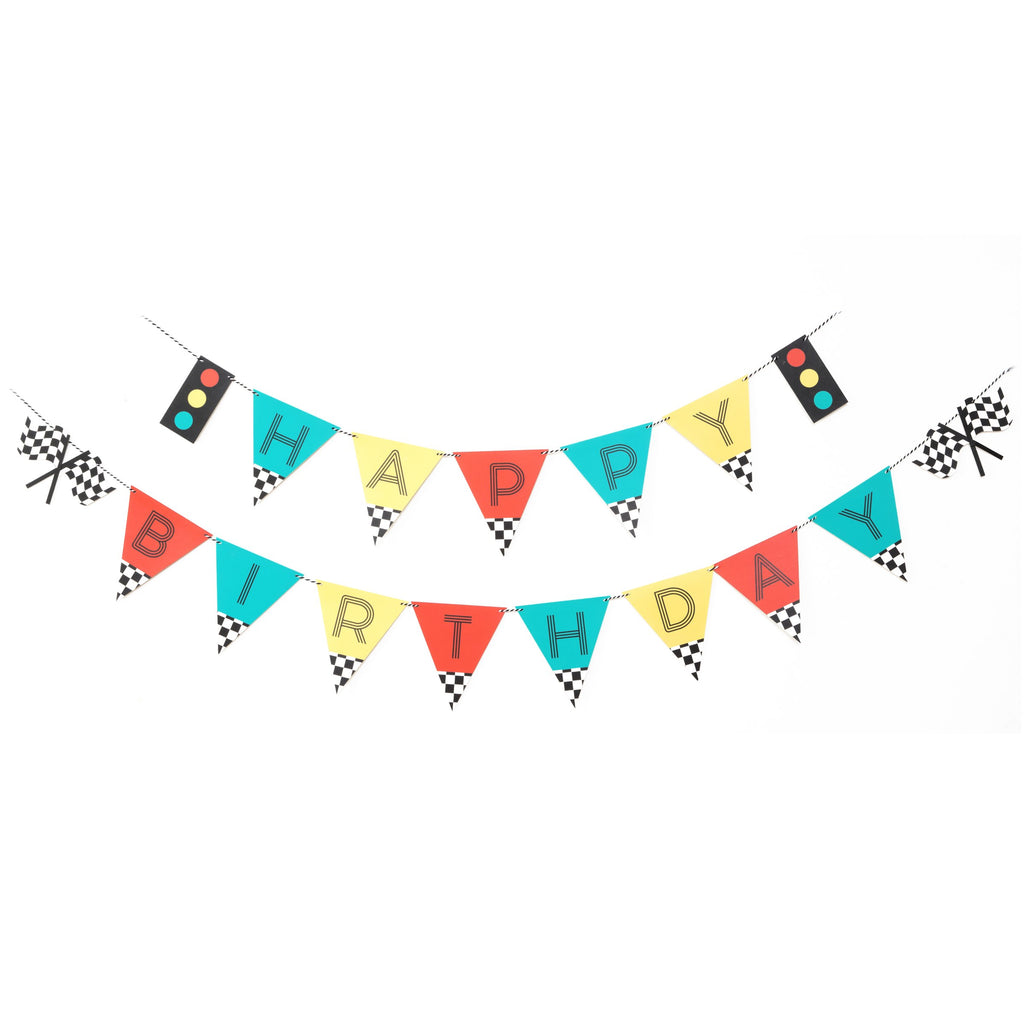 race car birthday banner