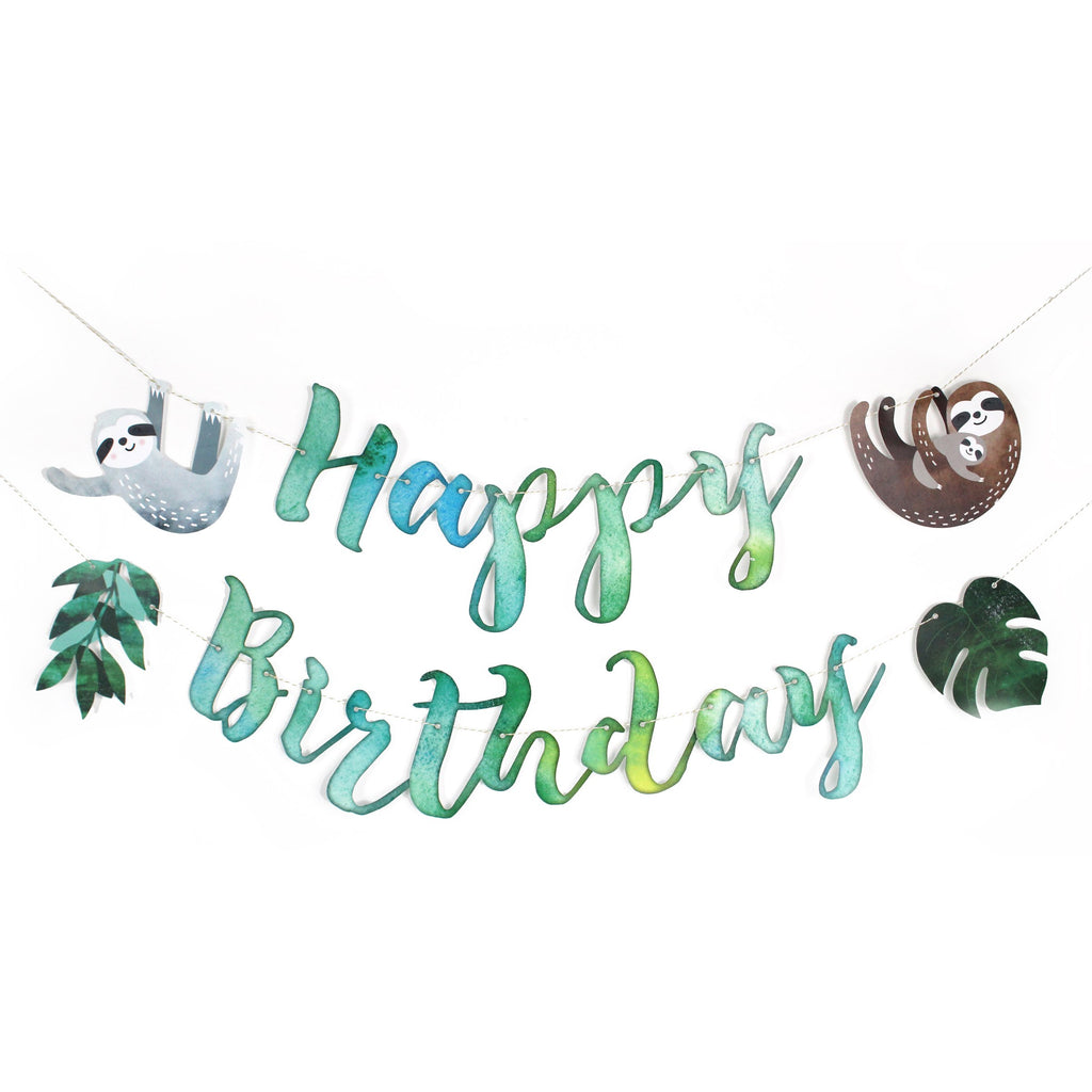 happy birthday spelled out in calligraphy font with watercolor texture. Sloths and tropical leaves are hanging on each end of garland