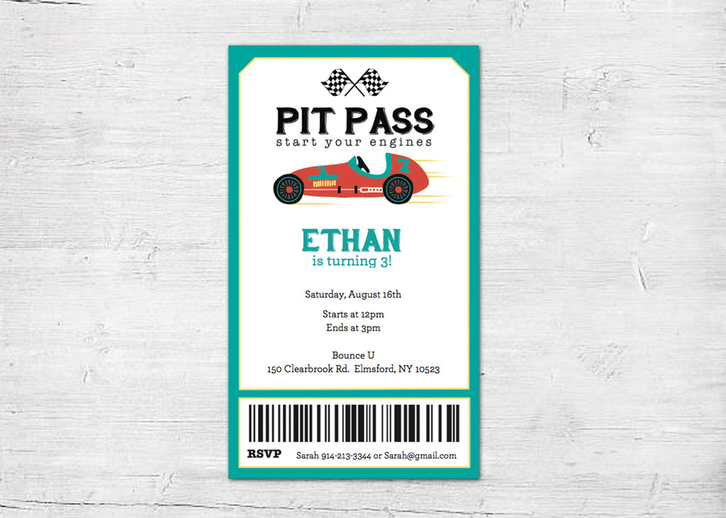 vintage race car custom digital invitation pit pass