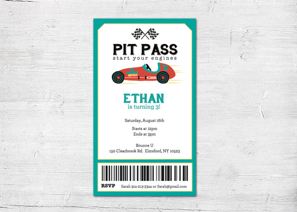 race car invitation