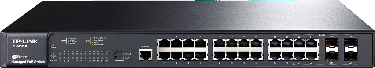 TP-LINK 24-Port Gigabit L2 Managed PoE Switch, 384W overall power budget