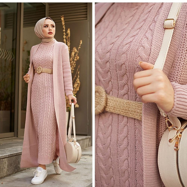2 Piece Knitwear Long Cardigan Dress in Colors Dress