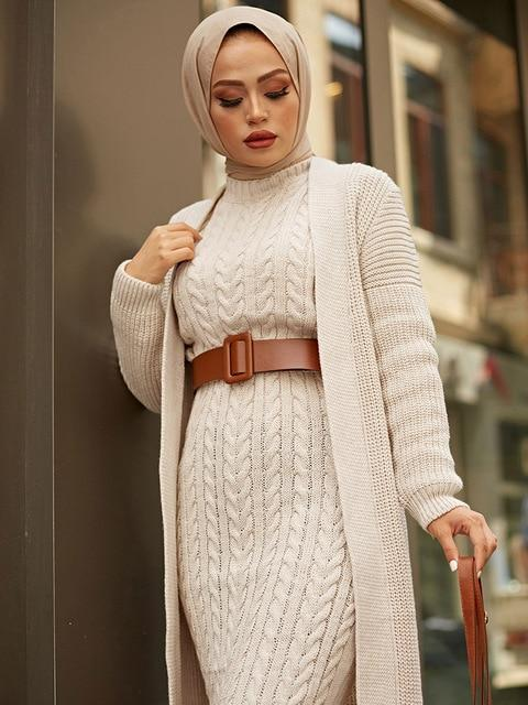 2 Piece Knitwear Long Cardigan Dress in Colors Dress Beige One Size