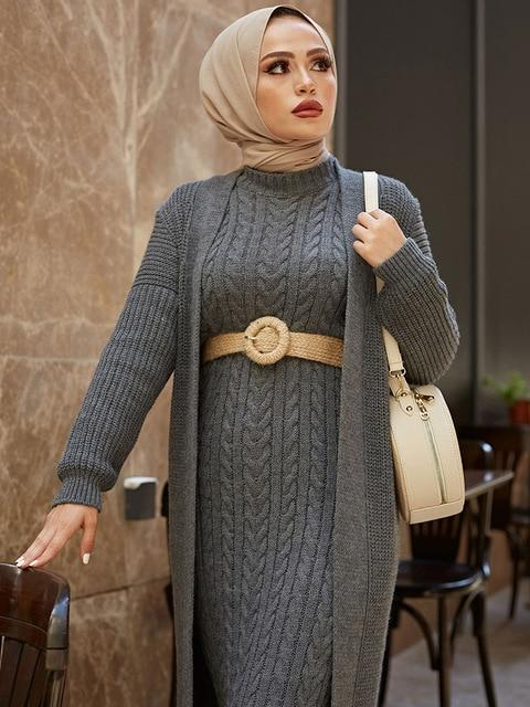 2 Piece Knitwear Long Cardigan Dress in Colors Dress Dark grey One Size
