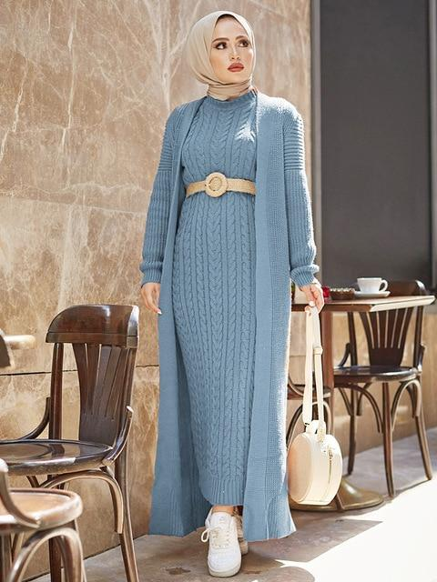 2 Piece Knitwear Long Cardigan Dress in Colors Dress İndigo One Size