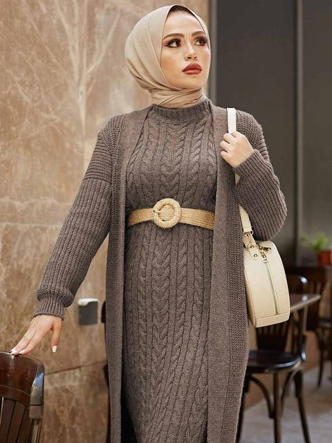 2 Piece Knitwear Long Cardigan Dress in Colors Dress Light coffee 2 One Size