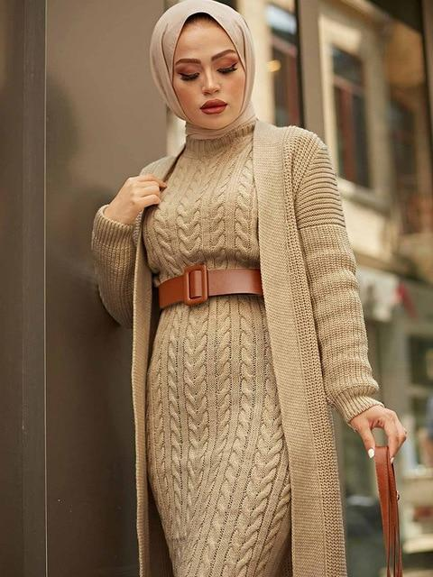 2 Piece Knitwear Long Cardigan Dress in Colors Dress Light coffee One Size