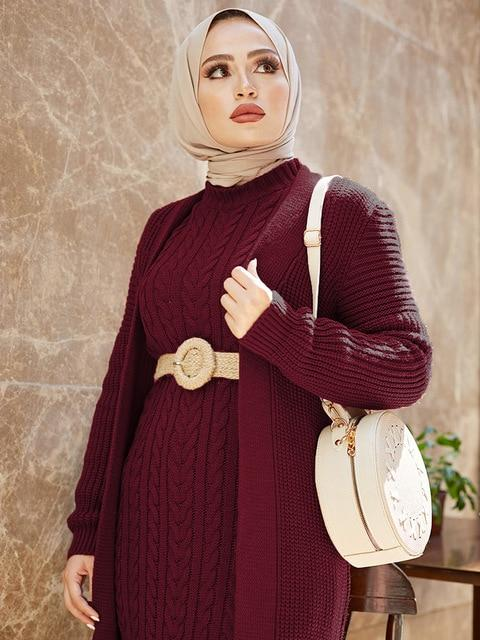 2 Piece Knitwear Long Cardigan Dress in Colors Dress Maroon One Size
