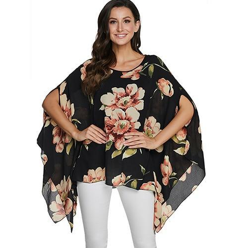 2020 Casual Chiffon Blouses Shirt Kimonos & Summer Tops Tops picture color 10 4XL