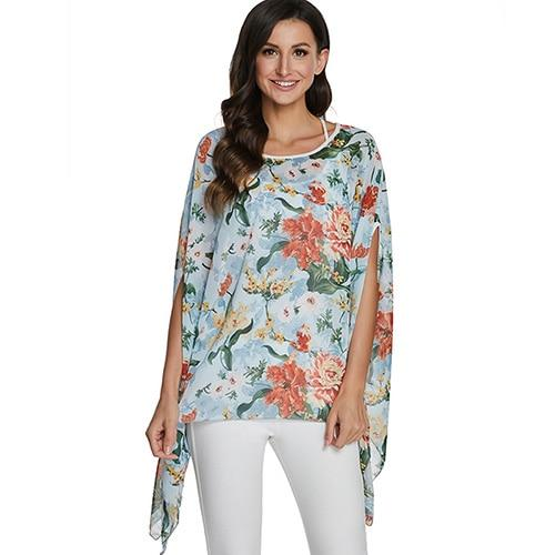 2020 Casual Chiffon Blouses Shirt Kimonos & Summer Tops Tops picture color 2 4XL