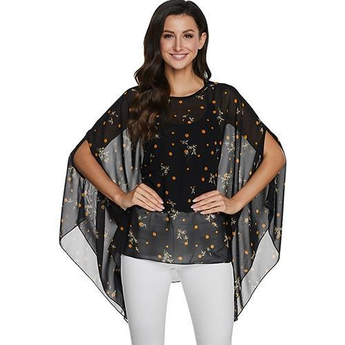 2020 Casual Chiffon Blouses Shirt Kimonos & Summer Tops Tops picture color 23 4XL
