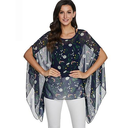 2020 Casual Chiffon Blouses Shirt Kimonos & Summer Tops Tops picture color 25 4XL