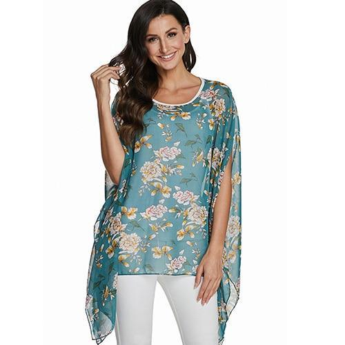 2020 Casual Chiffon Blouses Shirt Kimonos & Summer Tops Tops picture color 29 4XL