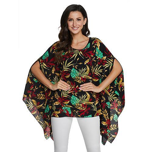 2020 Casual Chiffon Blouses Shirt Kimonos & Summer Tops Tops picture color 5 4XL