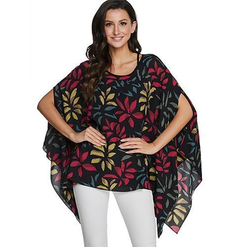 2020 Casual Chiffon Blouses Shirt Kimonos & Summer Tops Tops picture color 8 4XL