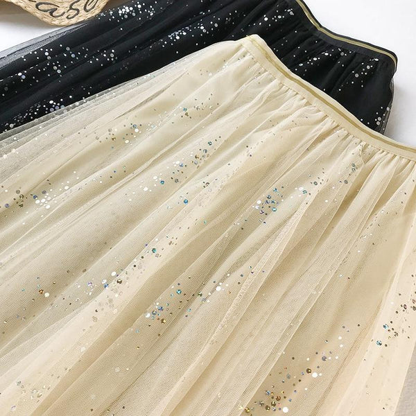 2020 NEW Double Multi-layer Mesh Pleated Skirt in 3 Colors skirts