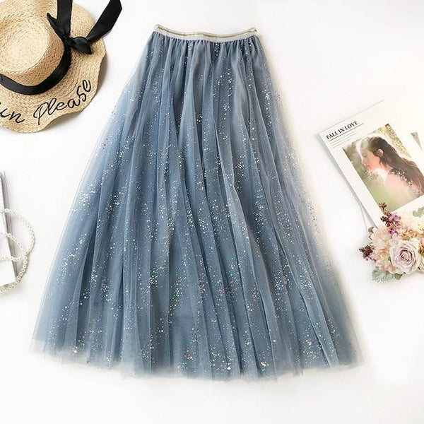 2020 NEW Double Multi-layer Mesh Pleated Skirt in 3 Colors skirts Blue One Size