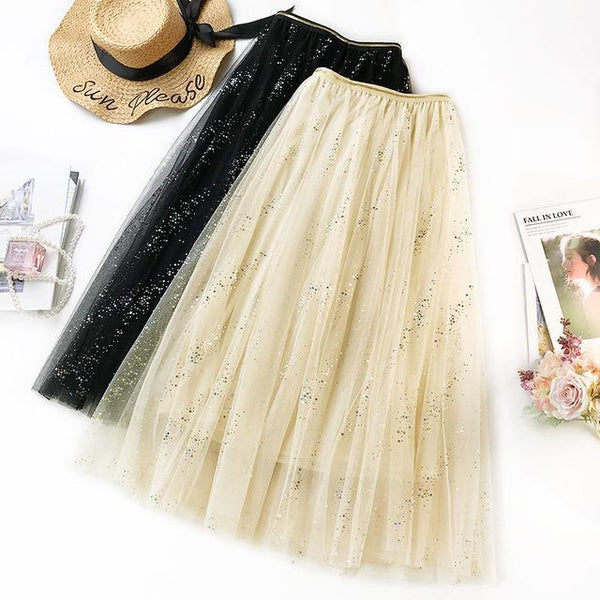 2020 NEW Double Multi-layer Mesh Pleated Skirt in 3 Colors skirts Peach One Size