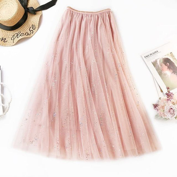 2020 NEW Double Multi-layer Mesh Pleated Skirt in 3 Colors skirts Pink One Size