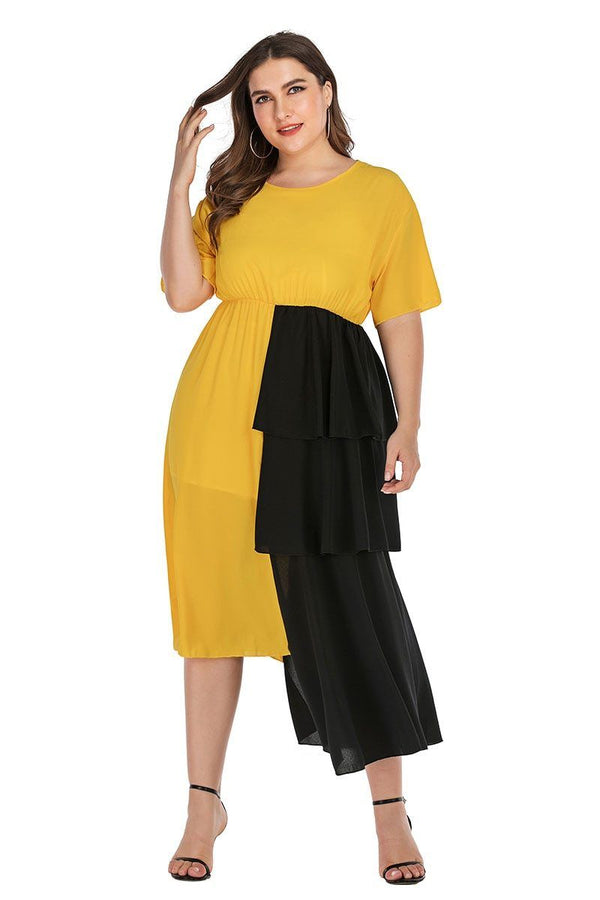 2020 Spring Dress Black And Yellow Plus Size Irregular Party Dress 4XL dress