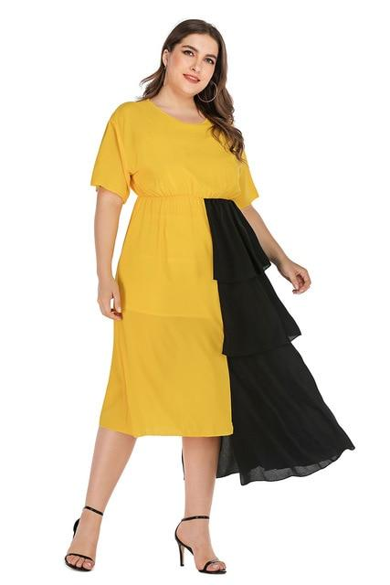 2020 Spring Dress Black And Yellow Plus Size Irregular Party Dress 4XL dress Yellow XXL
