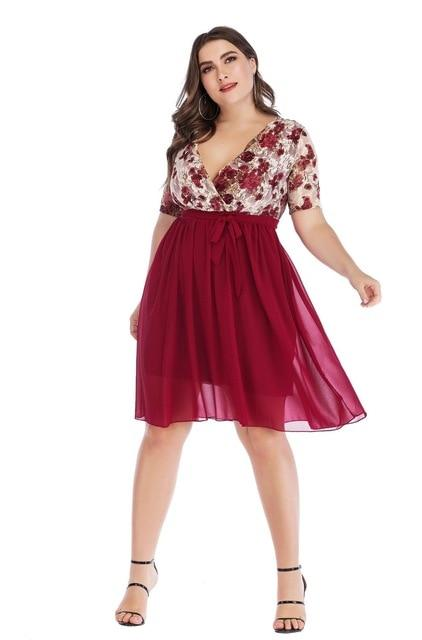 2020 Spring Plus Size Party Tulle Dresses 5XL dress Red XL