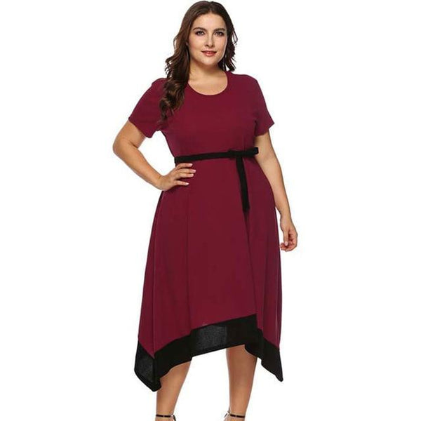 2020 Summer Big Size Midi Party Dress dress Red XL