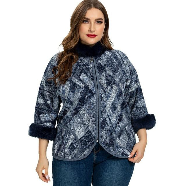 2020 Wome's Autumn Plus Size Jacket jackets Blue XXXL
