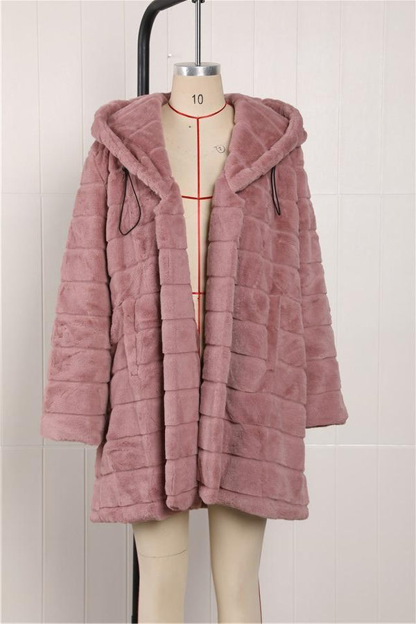4XL 5XL Medium Long Pink Black or Grey Plush Hooded Faux Fur Coat
