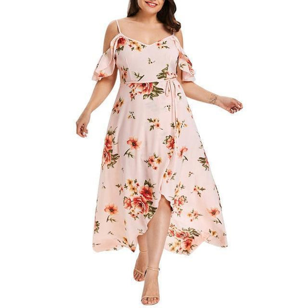 5XL Off Shoulder Boho Dress Ruffle Beach Flower strap Summer Dress Pink 5XL