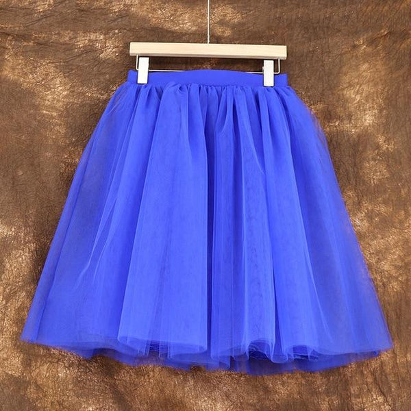 5XL Vintage Tulle Midi Pleated Skirts All Colors skirts 03 5XL