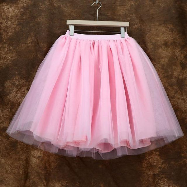 5XL Vintage Tulle Midi Pleated Skirts All Colors skirts 07 5XL