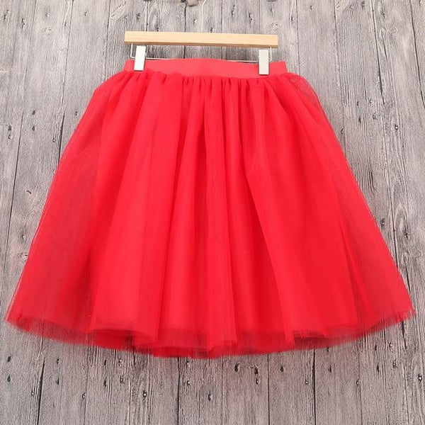 5XL Vintage Tulle Midi Pleated Skirts All Colors skirts 12 5XL
