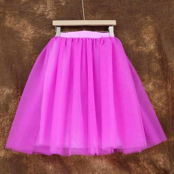 5XL Vintage Tulle Midi Pleated Skirts All Colors skirts 14 5XL
