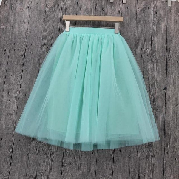 5XL Vintage Tulle Midi Pleated Skirts All Colors skirts 17 5XL