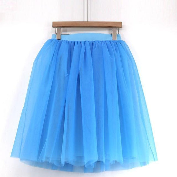 5XL Vintage Tulle Midi Pleated Skirts All Colors skirts 18 5XL