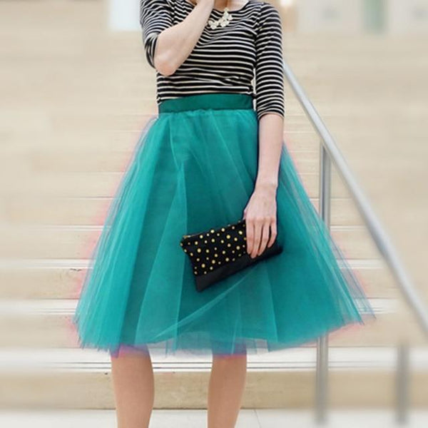 5XL Vintage Tulle Midi Pleated Skirts All Colors skirts 19 5XL