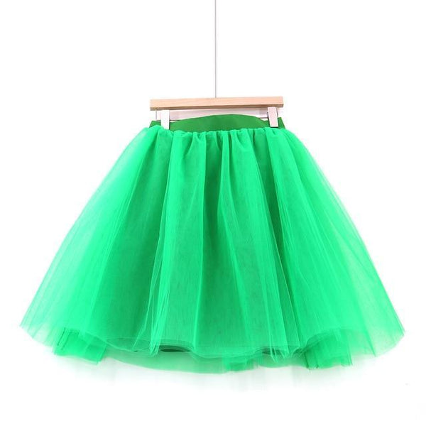 5XL Vintage Tulle Midi Pleated Skirts All Colors skirts 23 5XL