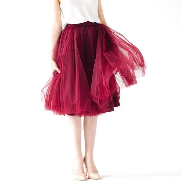 5XL Vintage Tulle Midi Pleated Skirts All Colors skirts 24 5XL