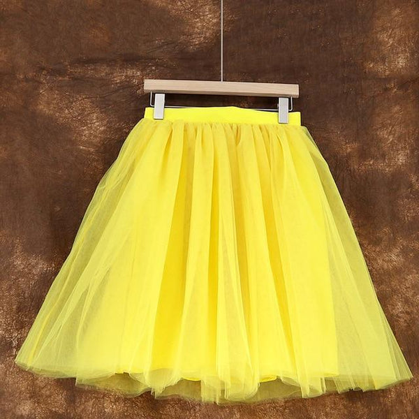 5XL Vintage Tulle Midi Pleated Skirts All Colors skirts 34 5XL