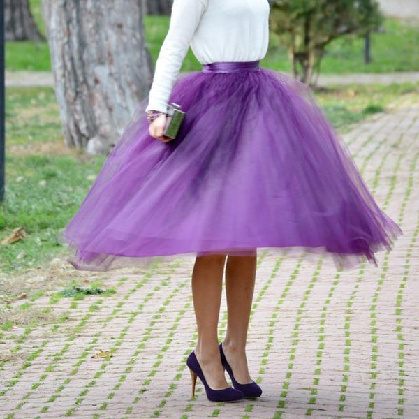 5XL Vintage Tulle Midi Pleated Skirts All Colors skirts 35 5XL