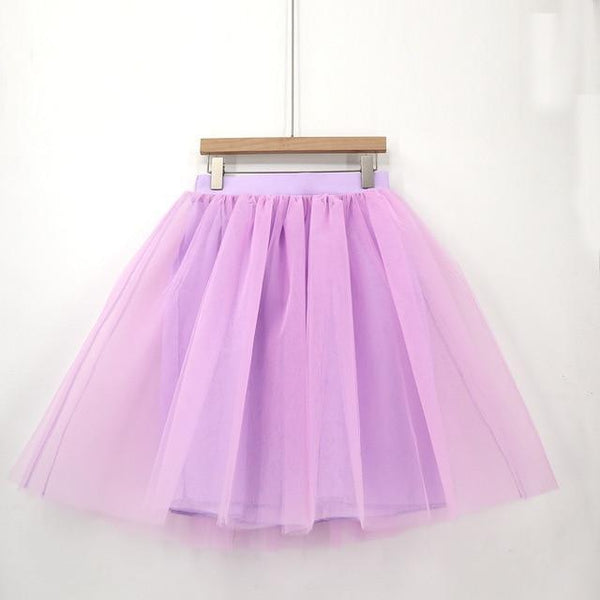 5XL Vintage Tulle Midi Pleated Skirts All Colors skirts 36 5XL