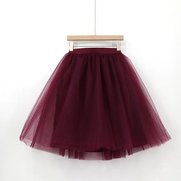 5XL Vintage Tulle Midi Pleated Skirts All Colors skirts 37 5XL