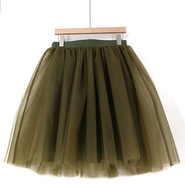 5XL Vintage Tulle Midi Pleated Skirts All Colors skirts 39 5XL