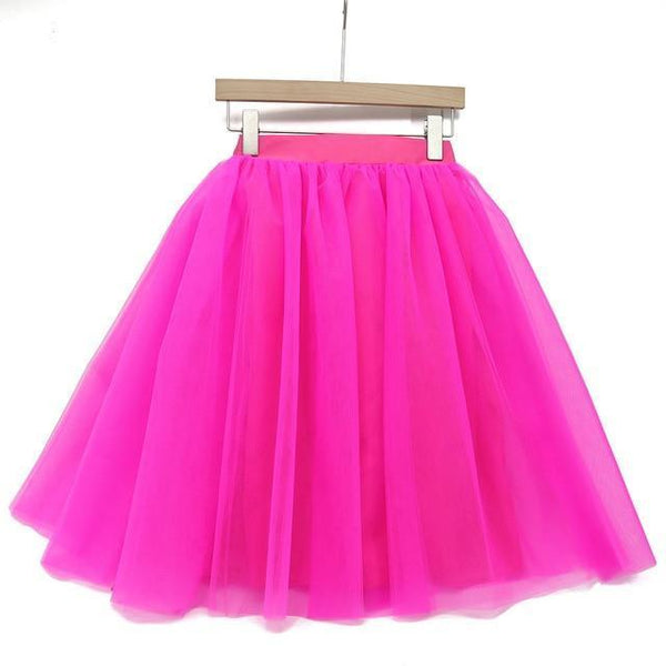 5XL Vintage Tulle Midi Pleated Skirts All Colors skirts 45 5XL