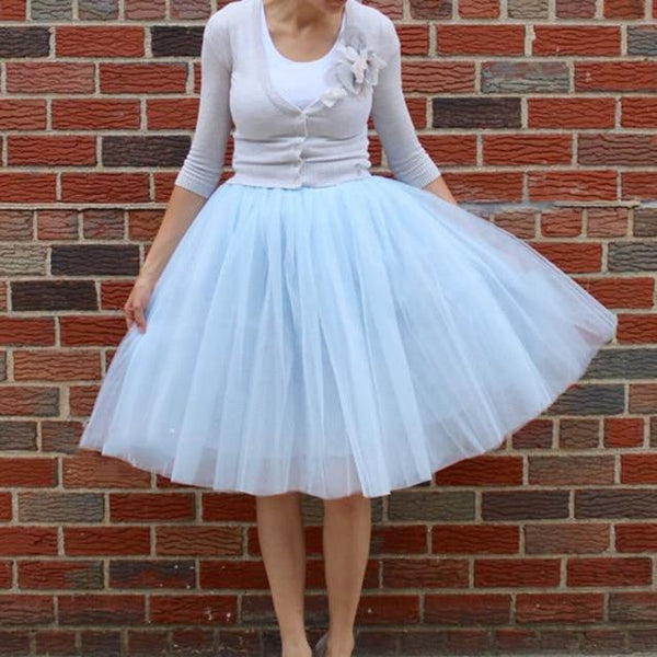 5XL Vintage Tulle Midi Pleated Skirts All Colors skirts 55 5XL