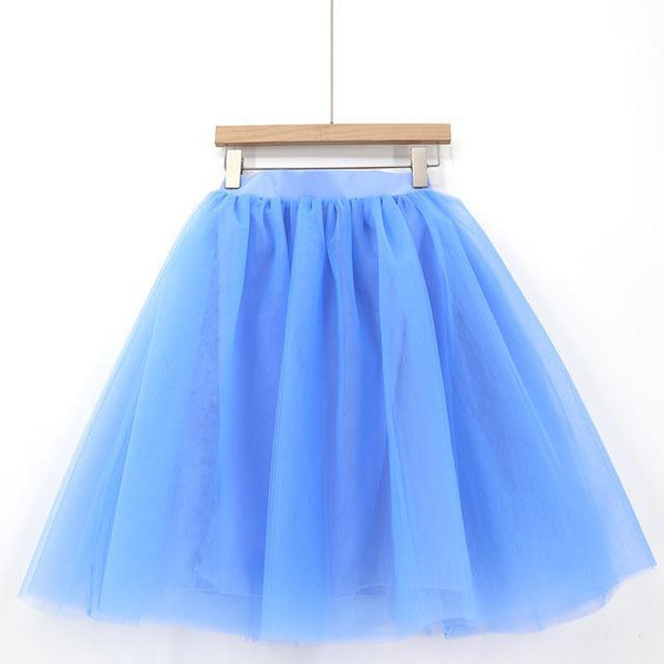5XL Vintage Tulle Midi Pleated Skirts All Colors skirts 56 5XL
