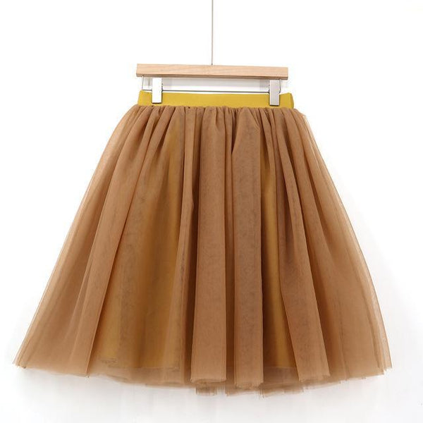 5XL Vintage Tulle Midi Pleated Skirts All Colors skirts 59 5XL